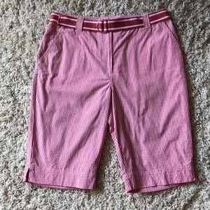 KIM ROGERS pink & white gingham Bermuda shorts